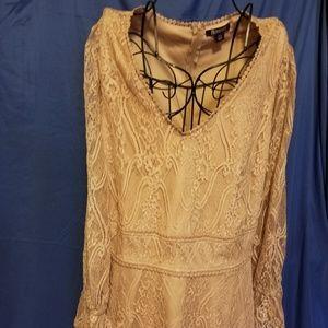 Roamans plus size lace overlay shirt